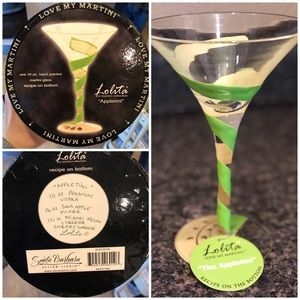 Lolita ' Appletini' hand-painted martini glass
